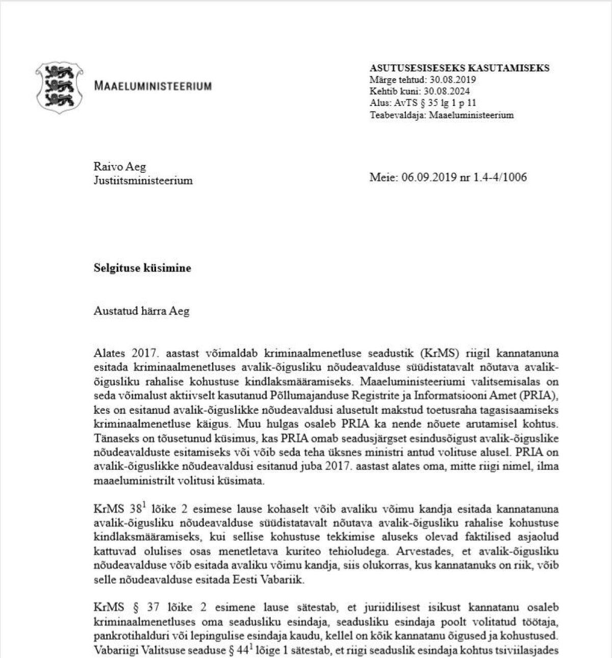 Mart Järviku kiri Raivo Aegile