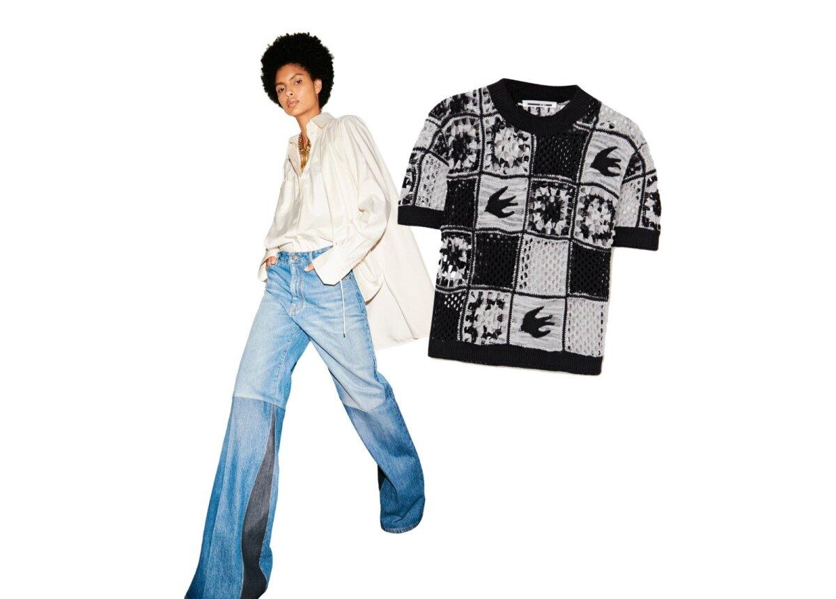 Püksid (Victoria Beckham) ja ruududetailidest sviiter.