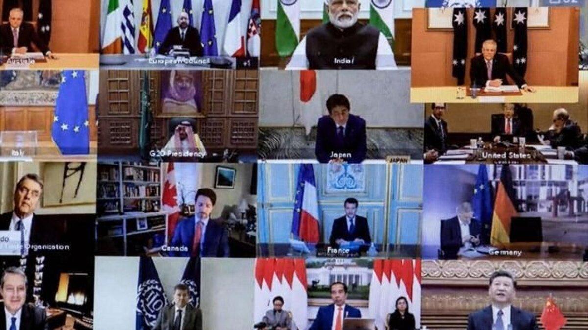 """В марте лидеры стран """"Большой двадцатки"""" тоже прибегли к помощи видеоконференции, чтобы обсудить мировые проблемы. Как видим, далеко не у всех кадр выстроен идеально"""