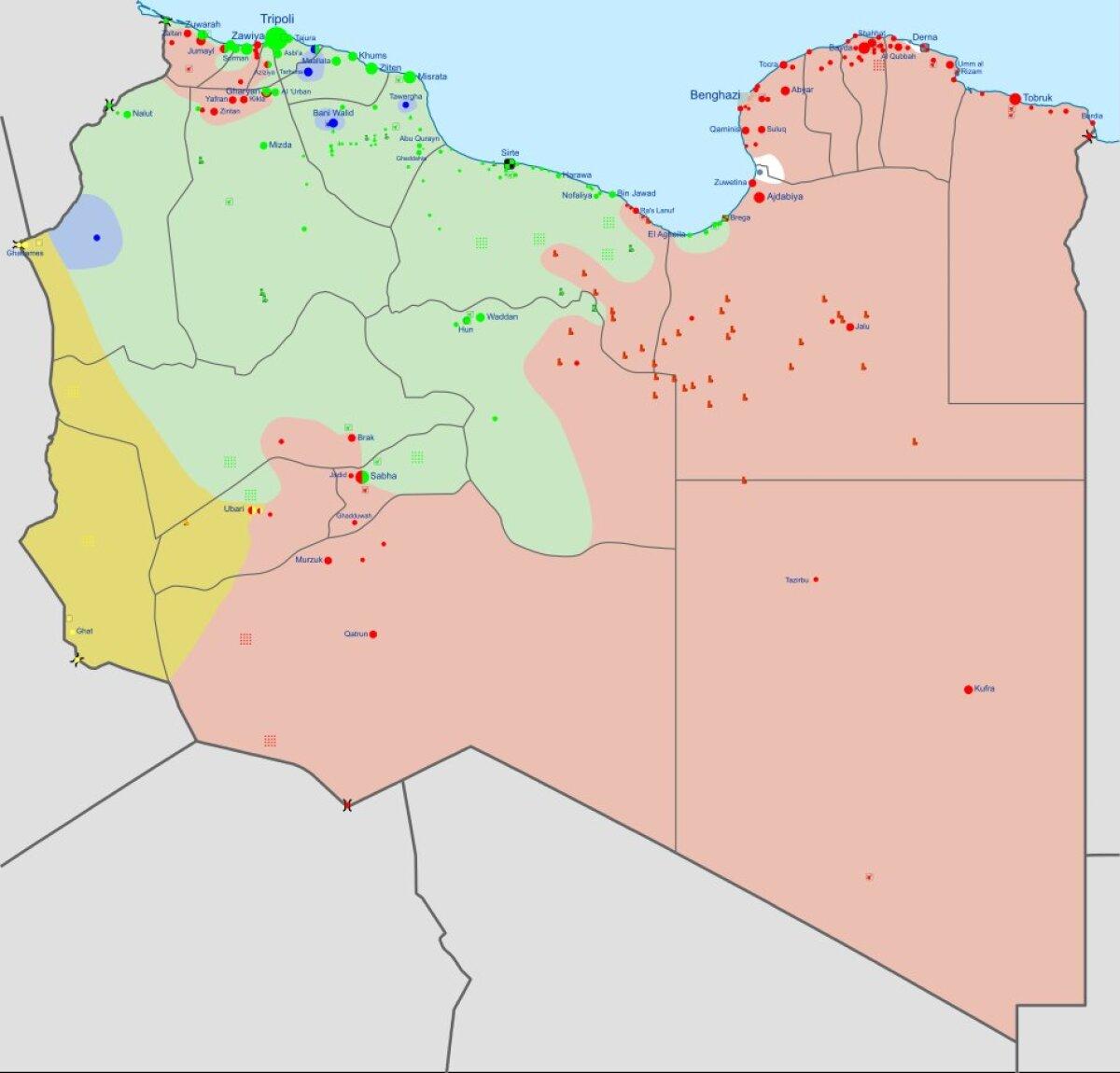 Sõjatanner Liibüas teisipäevase seisuga. Ühtsusvalitsus kontrollib rohelist ala.