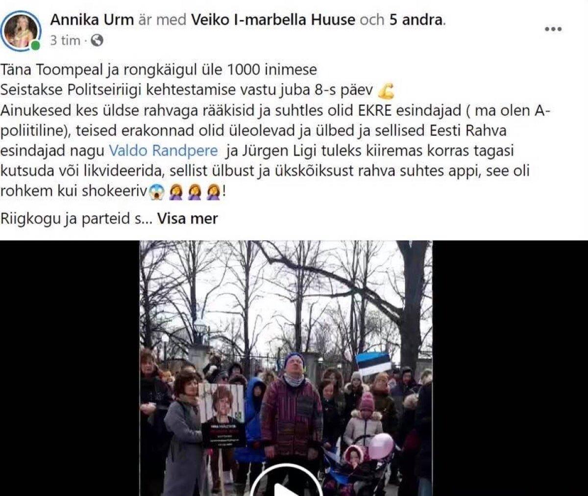 Jürgen Ligi jagas ühismeedias ka kuvatõmmist postitusest, kus protestijad teda  mainisid.