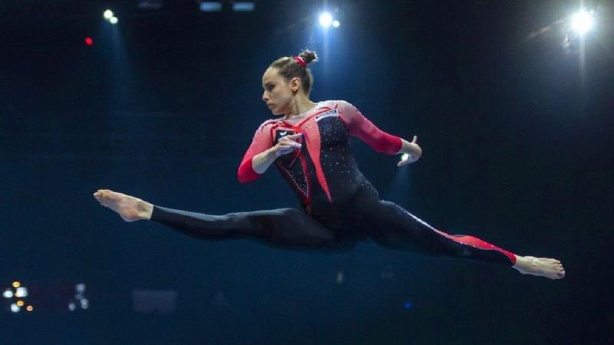 Сара Восс во время выступления на чемпионате Европы