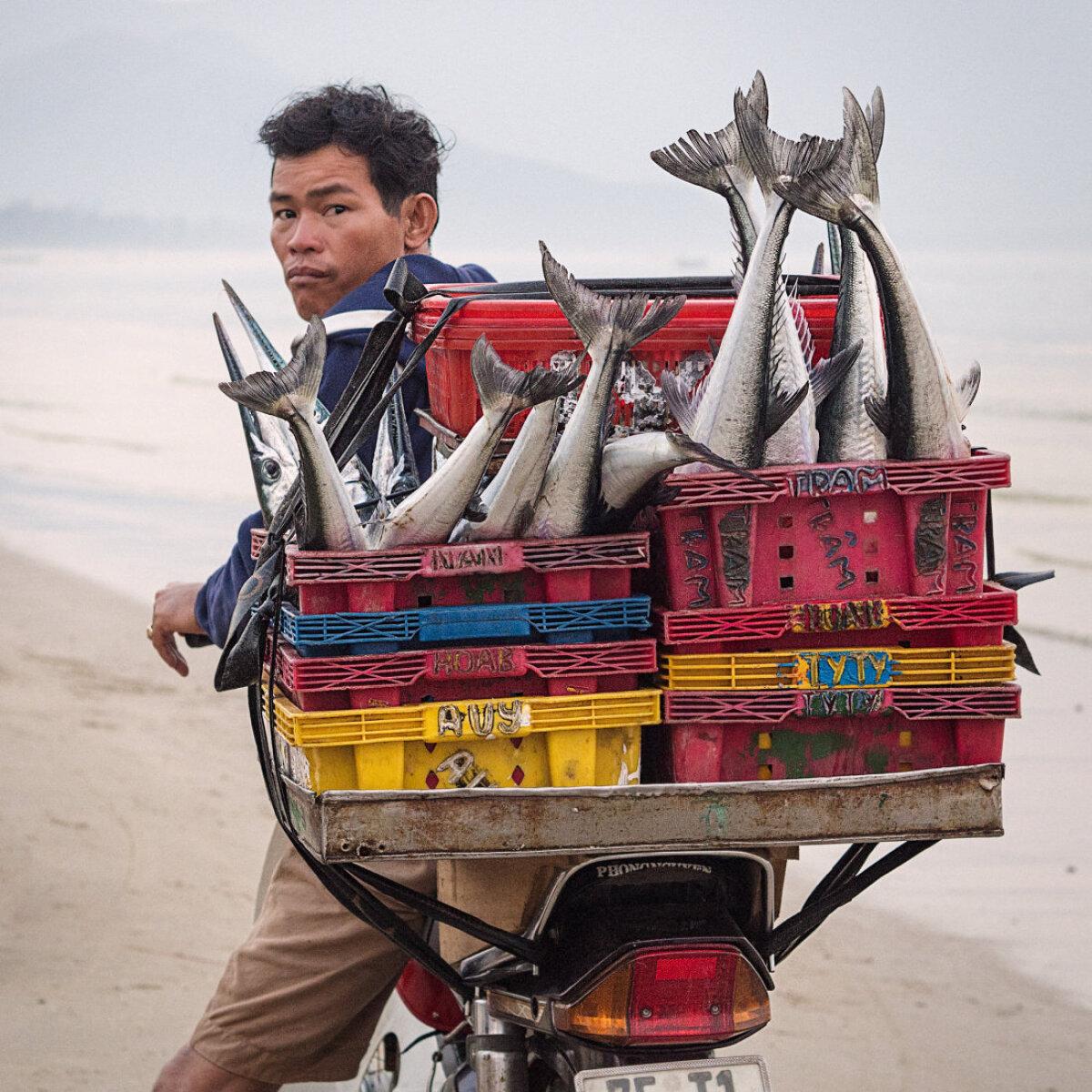 Hommikune turulkäik. Kohalikud külaelanikud kogunevad päikesetõusuks randa ootama värske kala saabumist – Loc Vinh, Vietnam