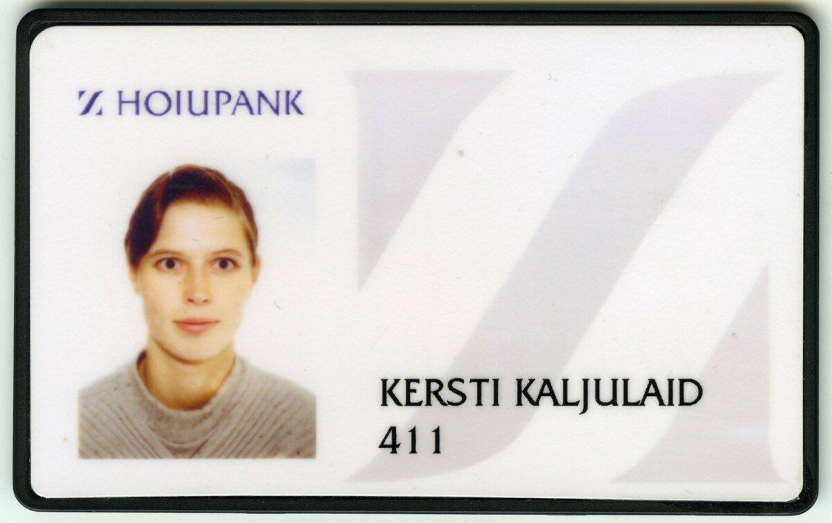 PANGATÖÖTAJA: Kersti Kaljulaidi töötõend Hoiupanga Investeeringute ASi ajast. Kuna Hoiupank liideti Hansapangaga, sai temast hiljem Hansabank Marketsi töötaja.