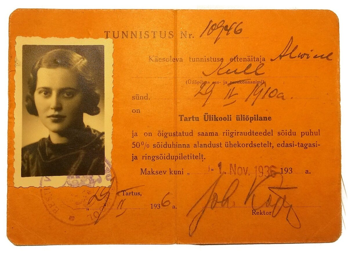 PRESIDENDI VANAEMA: Alwine Kulli Tartu ülikooli üliõpilase tunnistus aastast 1936.