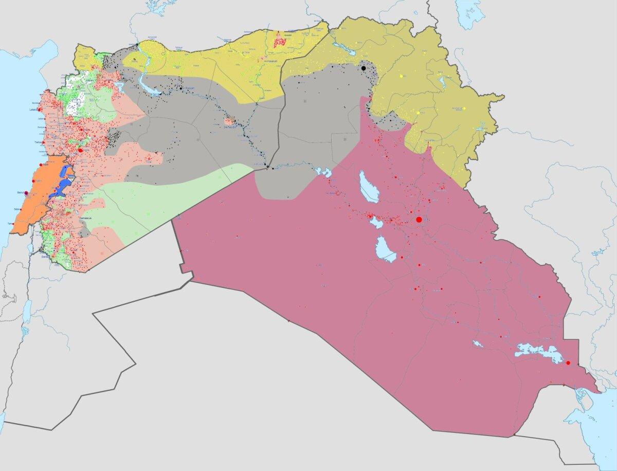 Islamiriigi kontrollitav ala Iraagis, Süürias ja Liibanonis (halliga)