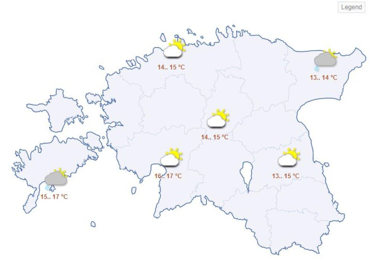 Pühapäevane ilmaprognoos Riigi Ilmateenistuse kodulehelt