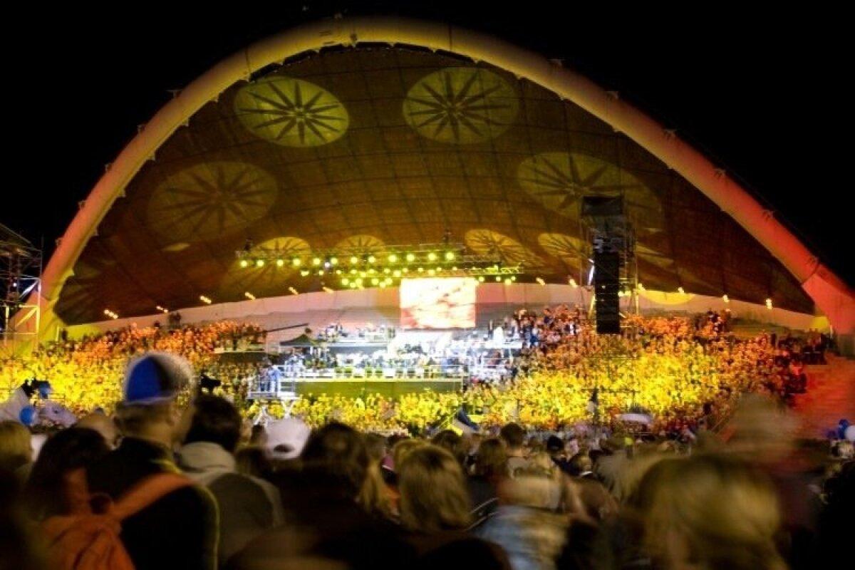 19. augusti õhtul kell 21 alanud öölaulupidu tõi Tallinna lauluväljakule kümneid tuhandeid inimesi.