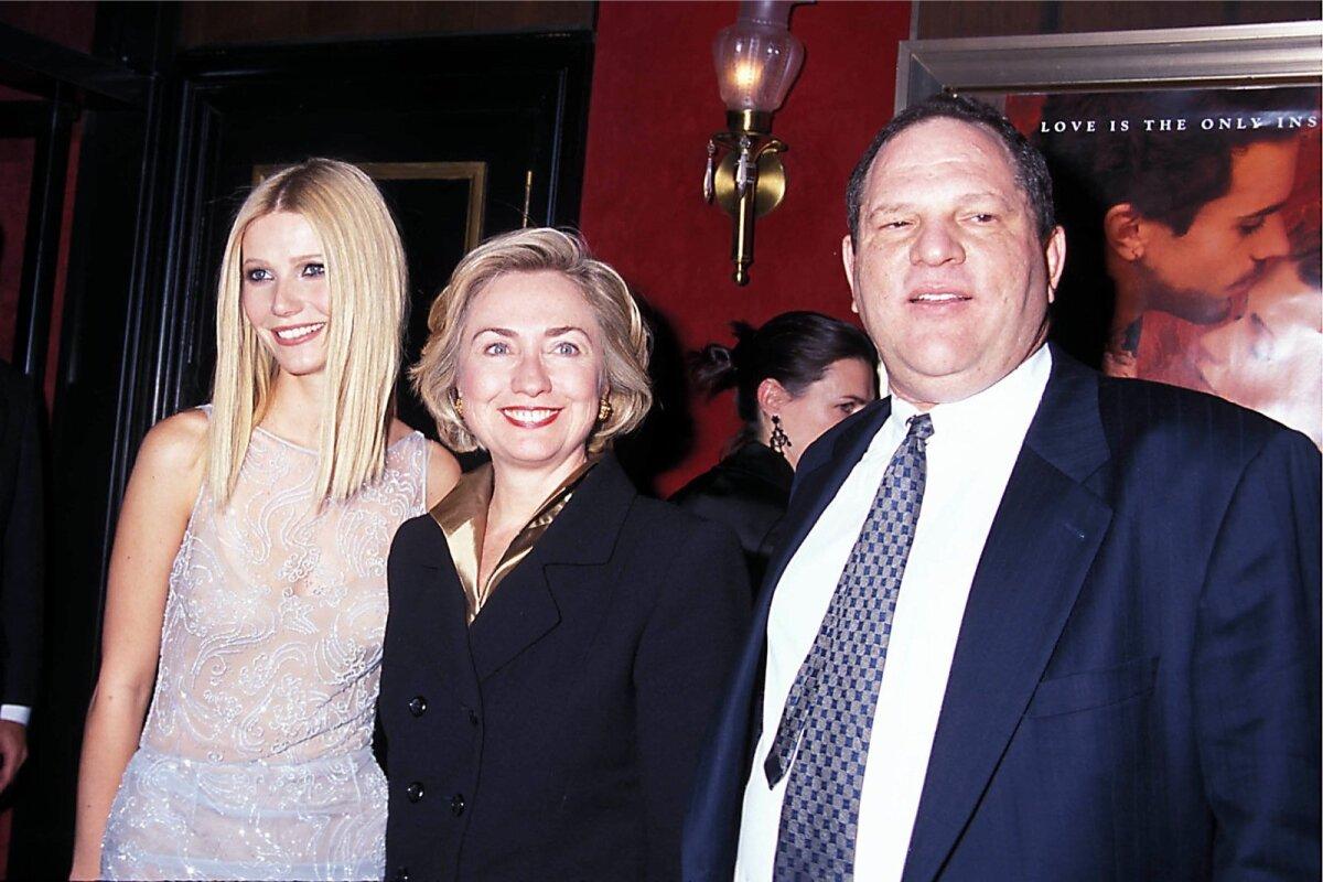 "Gwyneth Paltrow, Hillary Clinton ja Harvey Weinstein filmi ""Armunud Shakespeare"" esilinastusel Ziegfeldi teatris New Yorgis 1998. aastal."