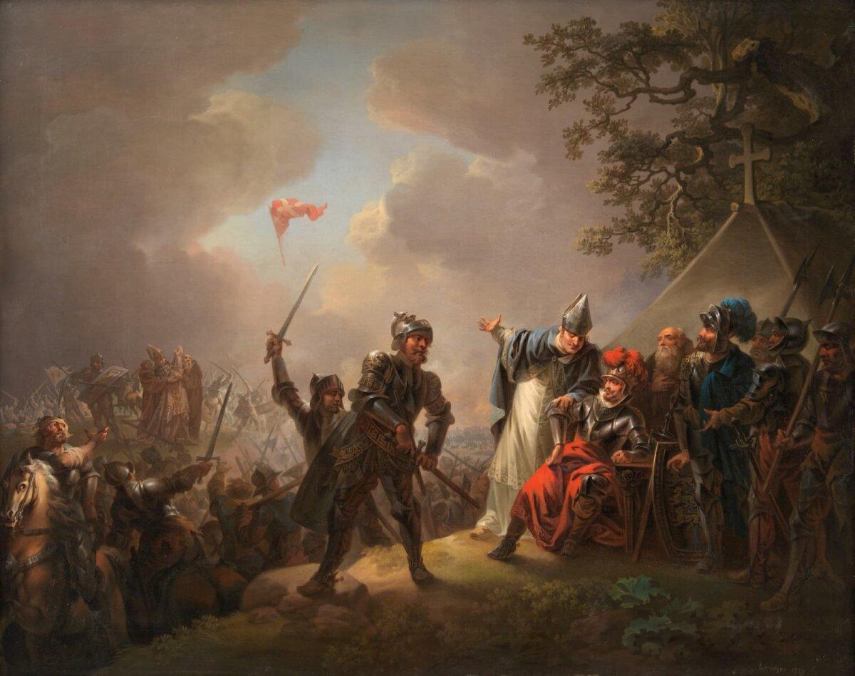 Dannebrogi langemine taevast Tallinna all 1219 Christian August Lorentzeni maalil