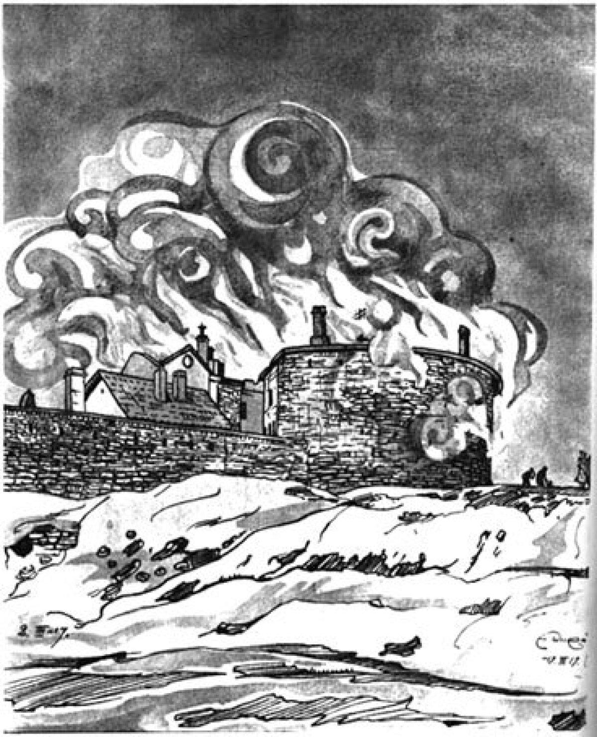 Paksu Margareeta vangla põlemine. Eduard Wiiralti joonistus 1917. aastast.