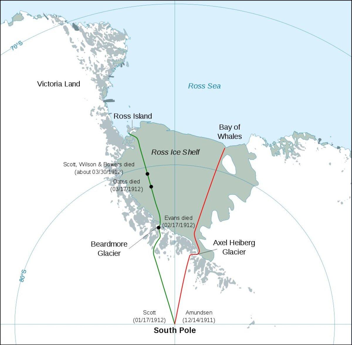 Scotti ja Amundseni ekspeditsioonid. Amundseni teekond on punasega ja Scotti oma rohelisega märgitud.