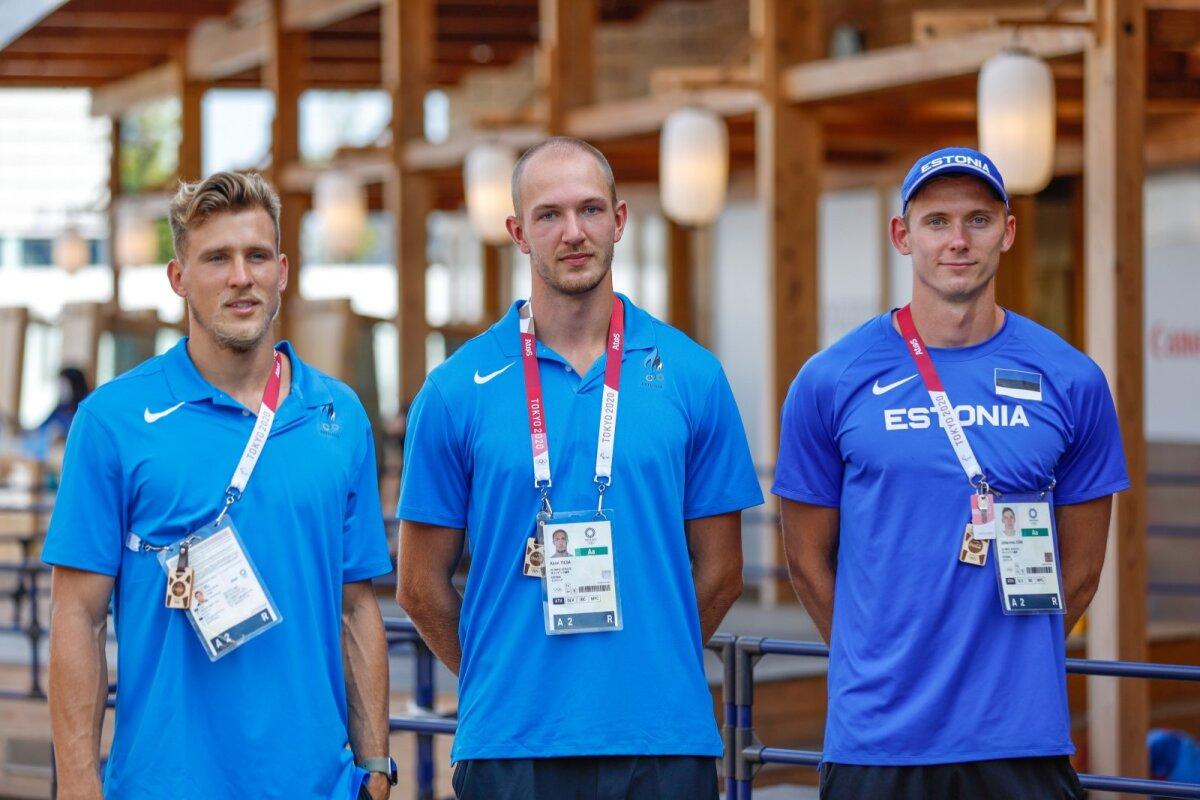 Eesti kümnevõistlejad (vasakult) Maicel Uibo, Karel Tilga ja Johannes Erm