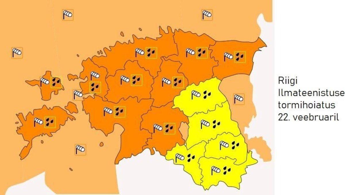 Riigi ilmateenistuse tormihoiatuse kaart 22.02.2020.