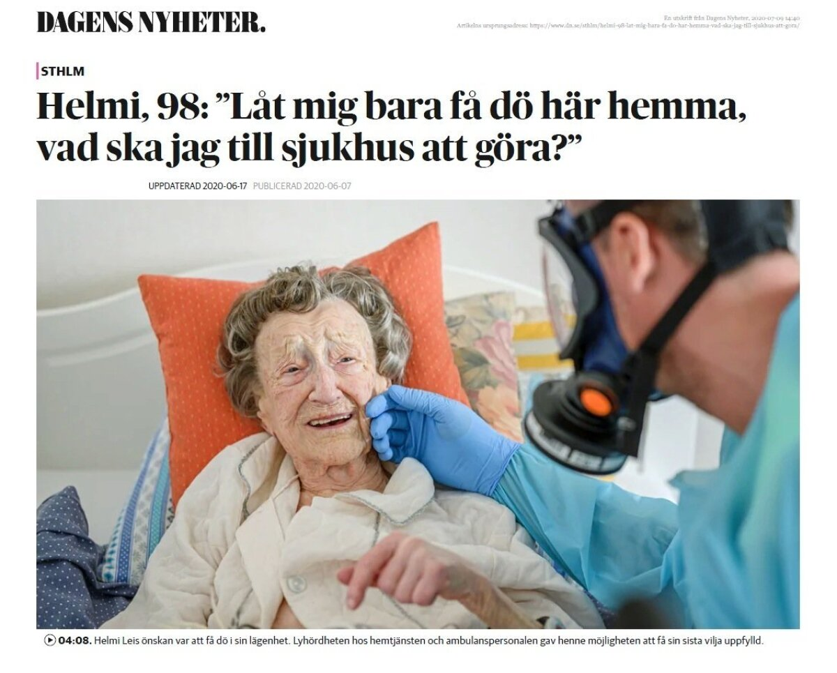 ПОСЛЕДНЯЯ НЕДЕЛЯ ЖИЗНИ ХЕЛЬМИ ЛЕЙС: История о 98-летней Хельми и ее попечительнице опубликована в шведской ежедневной газете Dagens Nyheter. Снимки для статьи были сделаны фотографом Dagens Nyheter Лоттой Херделин.