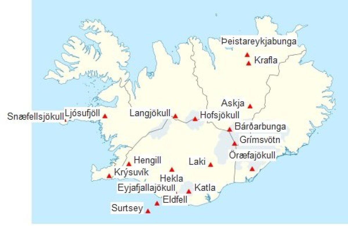 Islandi aktiivsemad vulkaanid