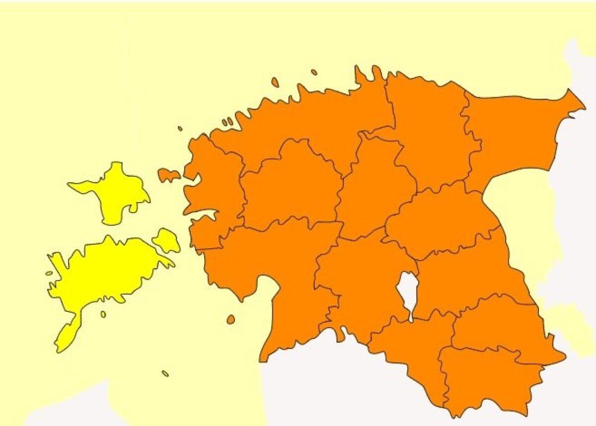 Eesti Ilmateenistuse hoiatuste kaart