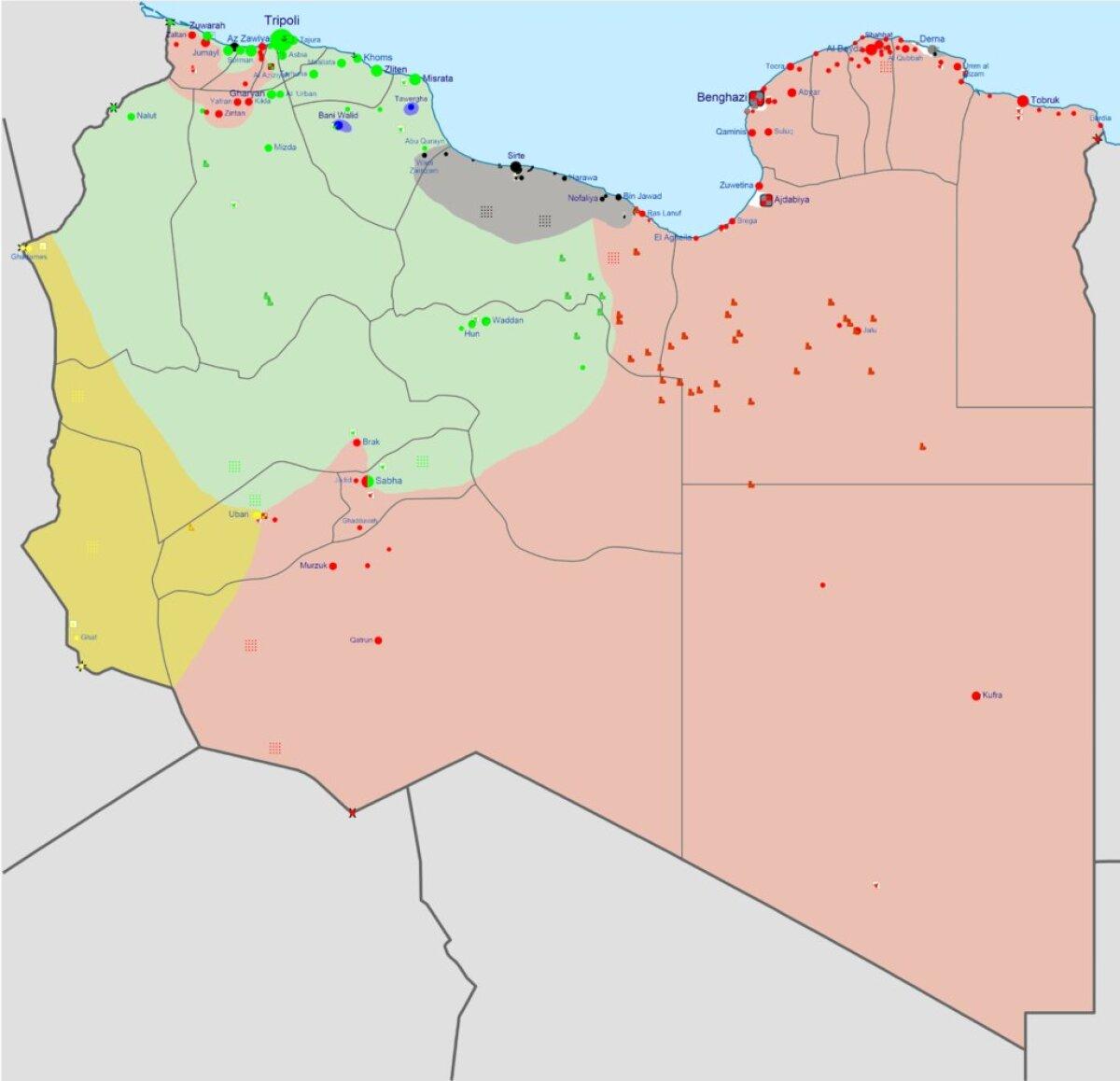 Liibüa sõja osapooled: roheline - Muslimi vennaskond ja liitlased, punane - varasem Liibüa valitsus koos Egiptuse-meelse armeega, hall - Islamiriik, kollane - berberid.