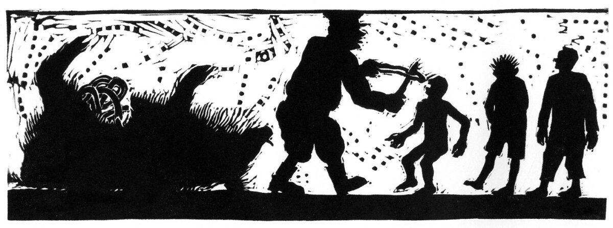 """ILLUSTRATSIOONID HITTROMAANILE: Vahur Afanasjevi menuromaani """"Serafima ja Bogdan"""" (2017) illustreeris kunstnik Peeter Allik. Kui Allik 2019. aasta viimasel päeval suri, meenutas teda Areenis ilmunud järelehüüdes just Vahur Afanasjev..."""