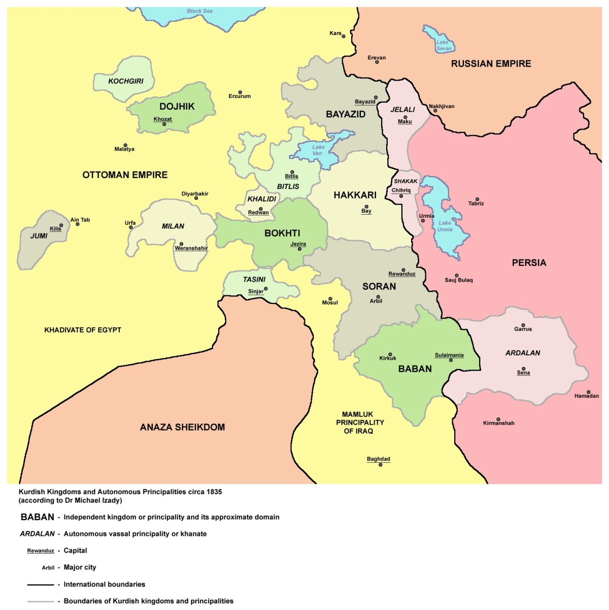 Kurdi vürstiriigid aastal 1835