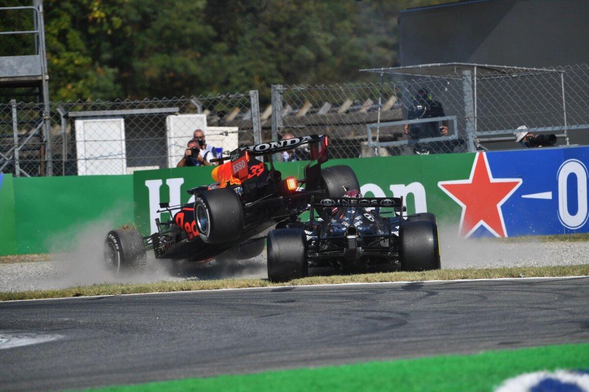 Max Verstappeni vormel kerkis avarii tagajärjel Lewis Hamiltoni vormeli kohale.