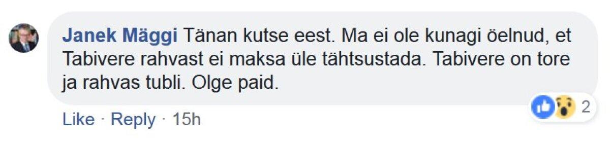 Janek Mäggi vastus.