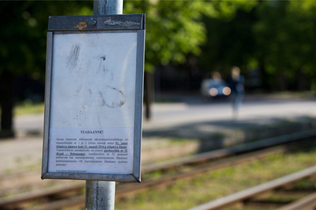 Kopli trammiliini remondi kestel asendatakse tramm bussidega