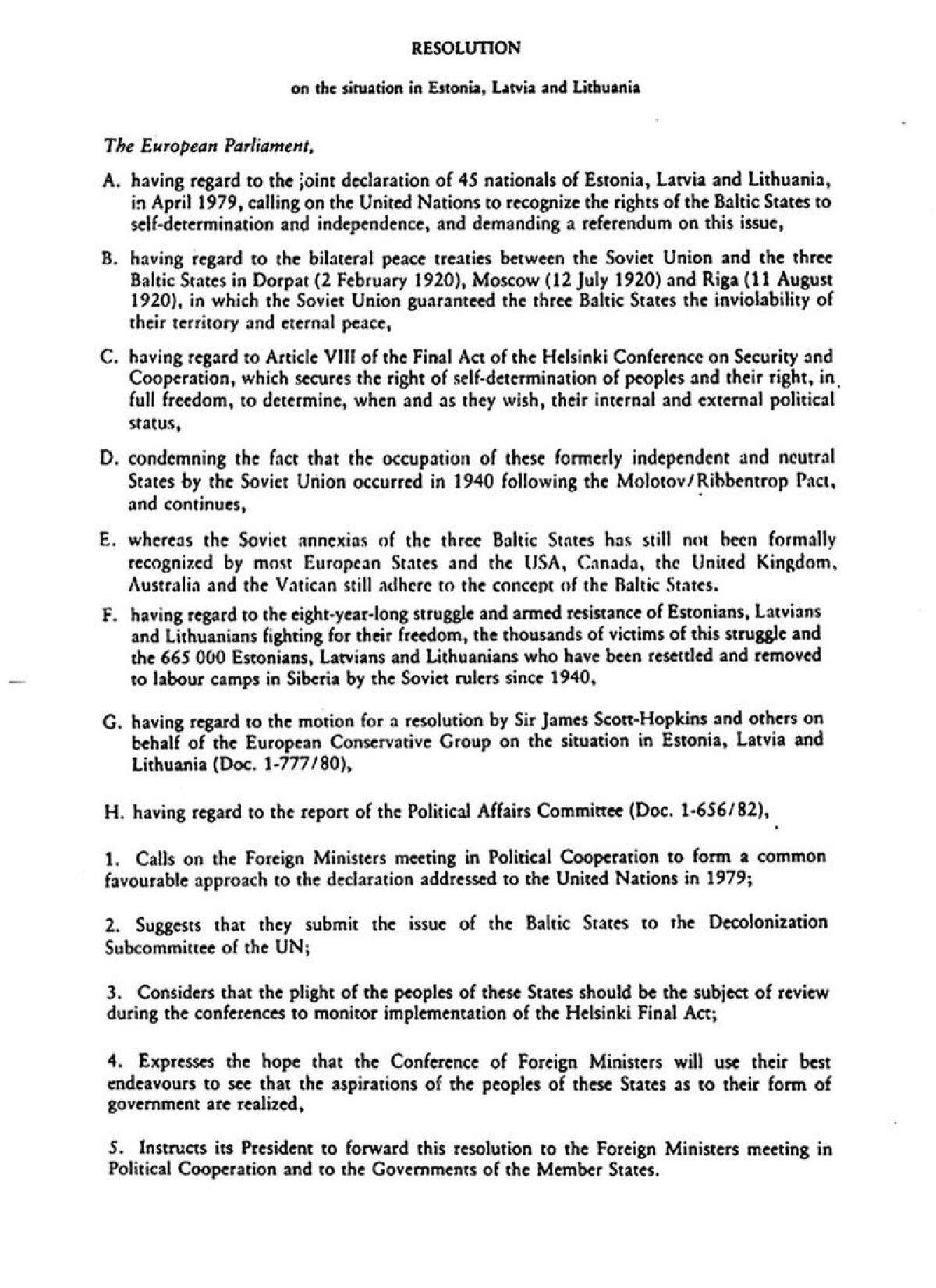 Euroopa parlamendi resolutsioon 1983. aastast