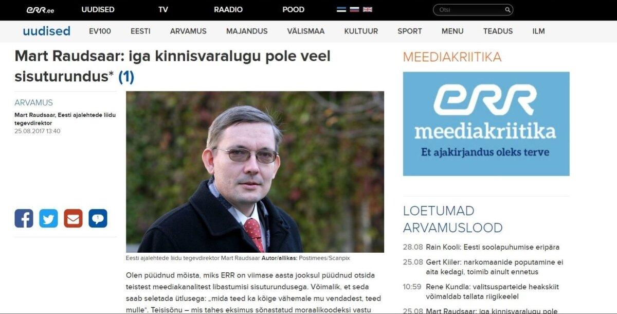 Mart Raudsaare arvamuslugu ERR-is