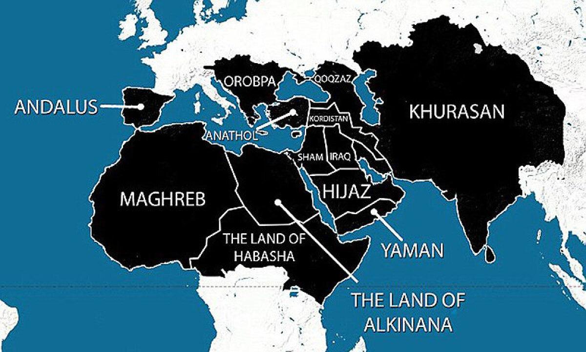 Veidi liialdatud kaart Islamiriigi territoriaalsete nõuete kohta. https://i.dawn.com