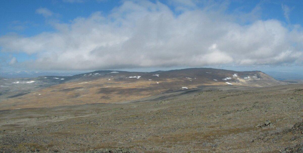 Haltintunturi kõrgemad kohad - vasakul Haldičohkka, paremal Ráisduattarháldi. Foto: Ari Mure