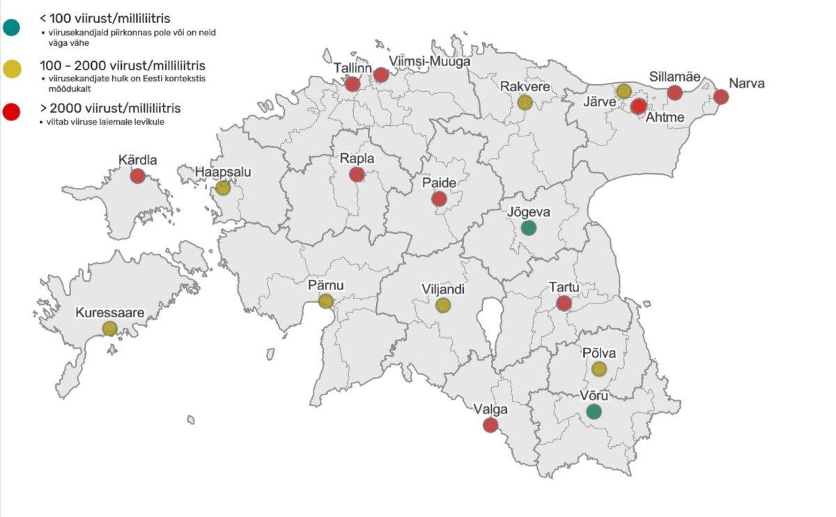 Koroonaviiruse reoveeseire kaart, jaanuari neljas nädala tulemused