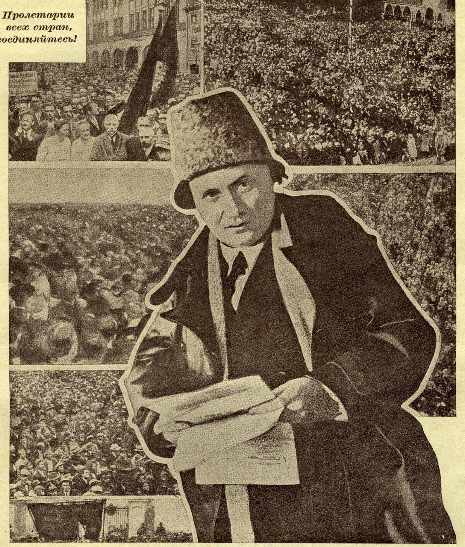 Propagandaplakatil on laulupeost saanud massimiiting, kus nõutakse nõukogude võimu kehtestamist.