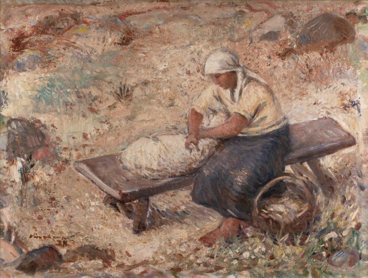 """Johannes Võerahansu """"Lambapügaja"""" (1938, õli, lõuend 59 x 79 cm). Alghind 14 700, haamrihind 28 700 eurot."""