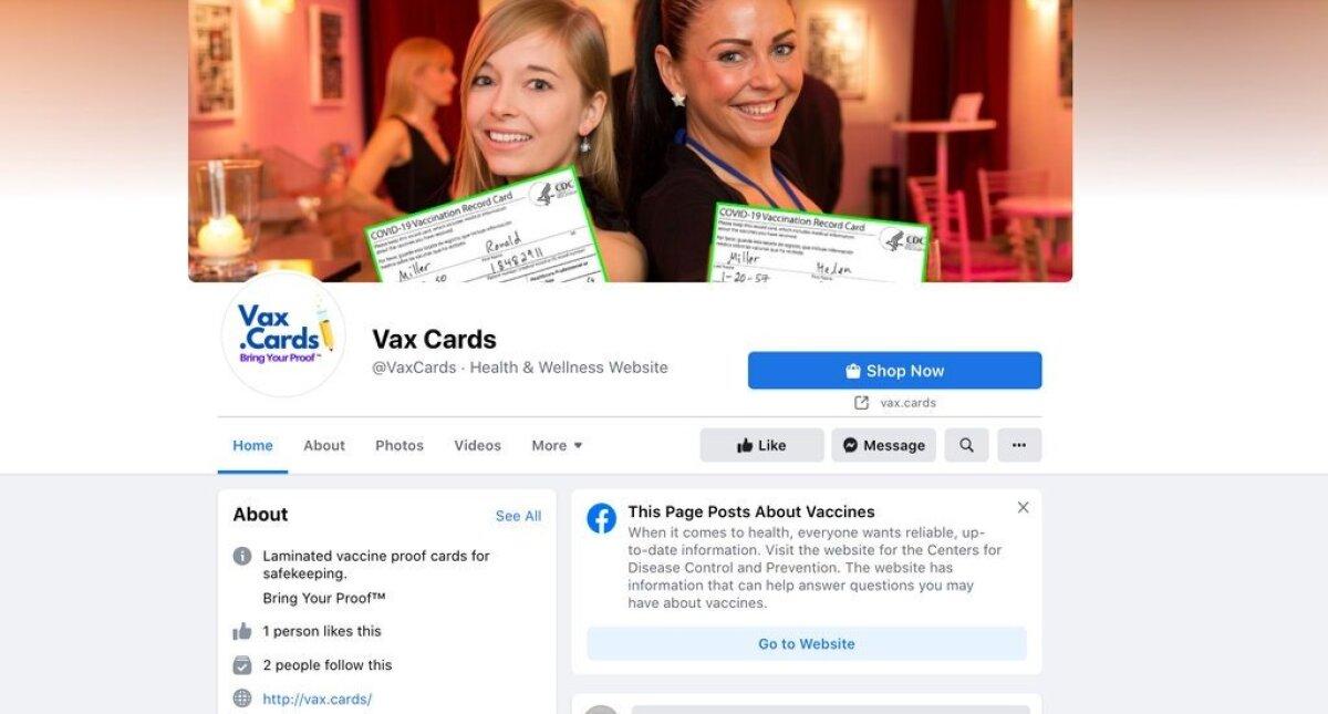 Facebookis vaktsineerimiskaarte müüv grupp