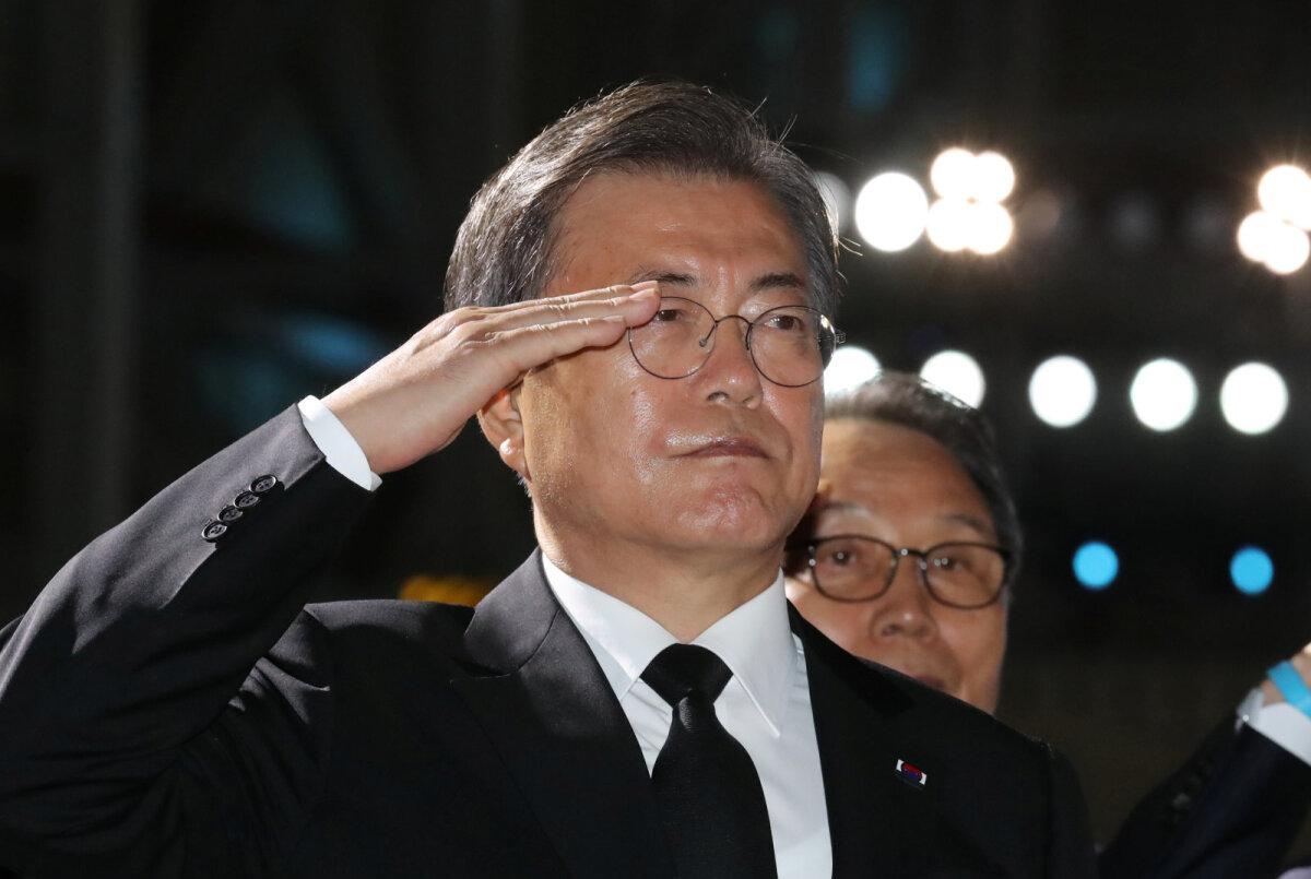 Moon Jae-in sel suvel Korea sõja 70. aastapäeva üritustel Soulis.