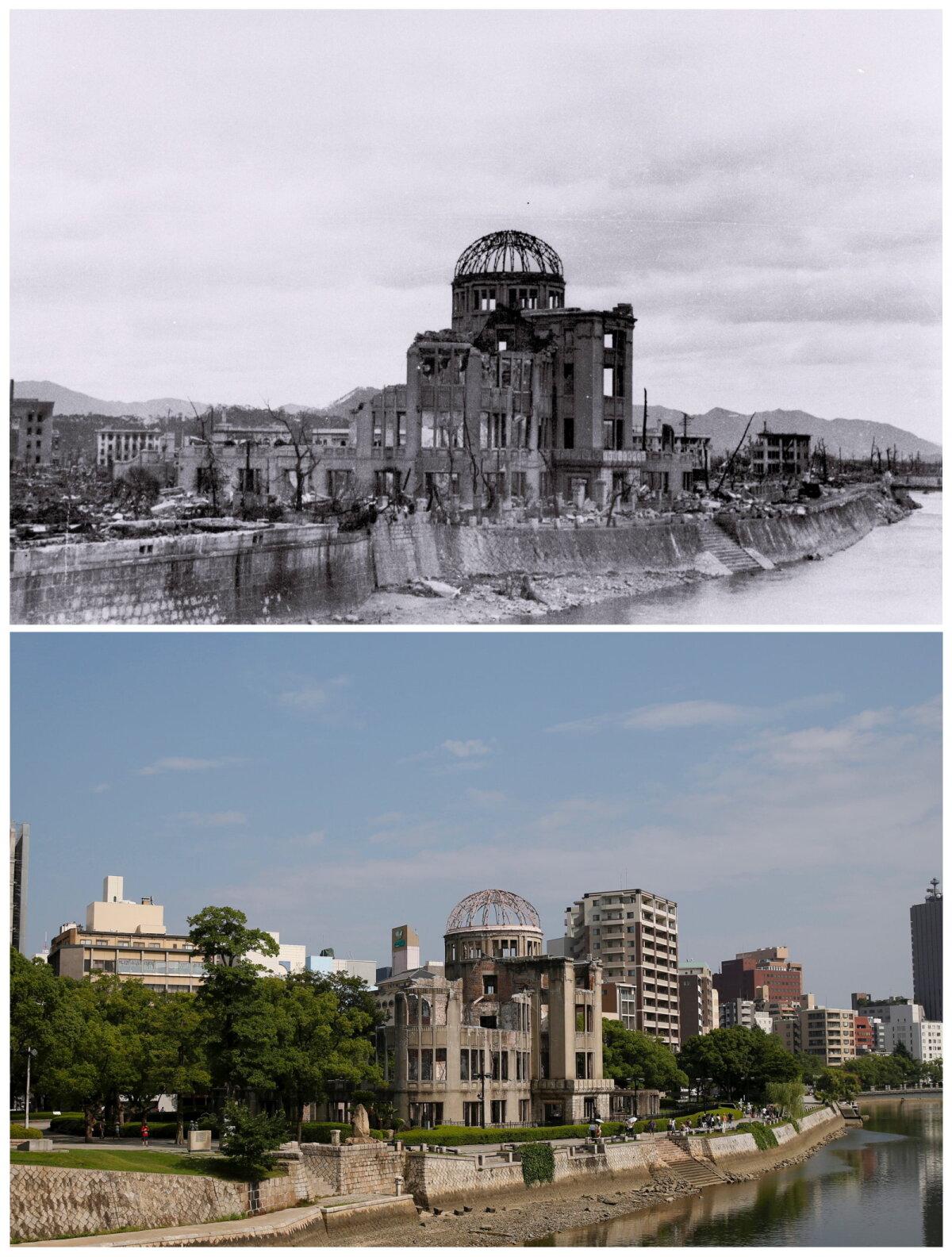 Vaade Hiroshimale 1945. aastal ja tänapäeval.