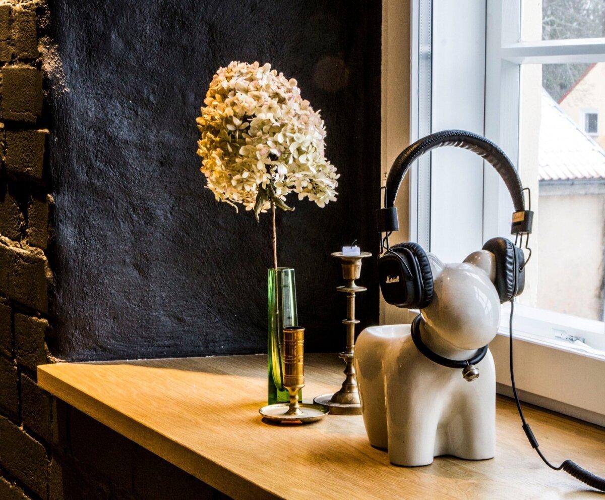 Küünal ja keraamiline loomake kõrvaklappidega - lihtsalt mõnus fragment. Kas kuuled muusikat?