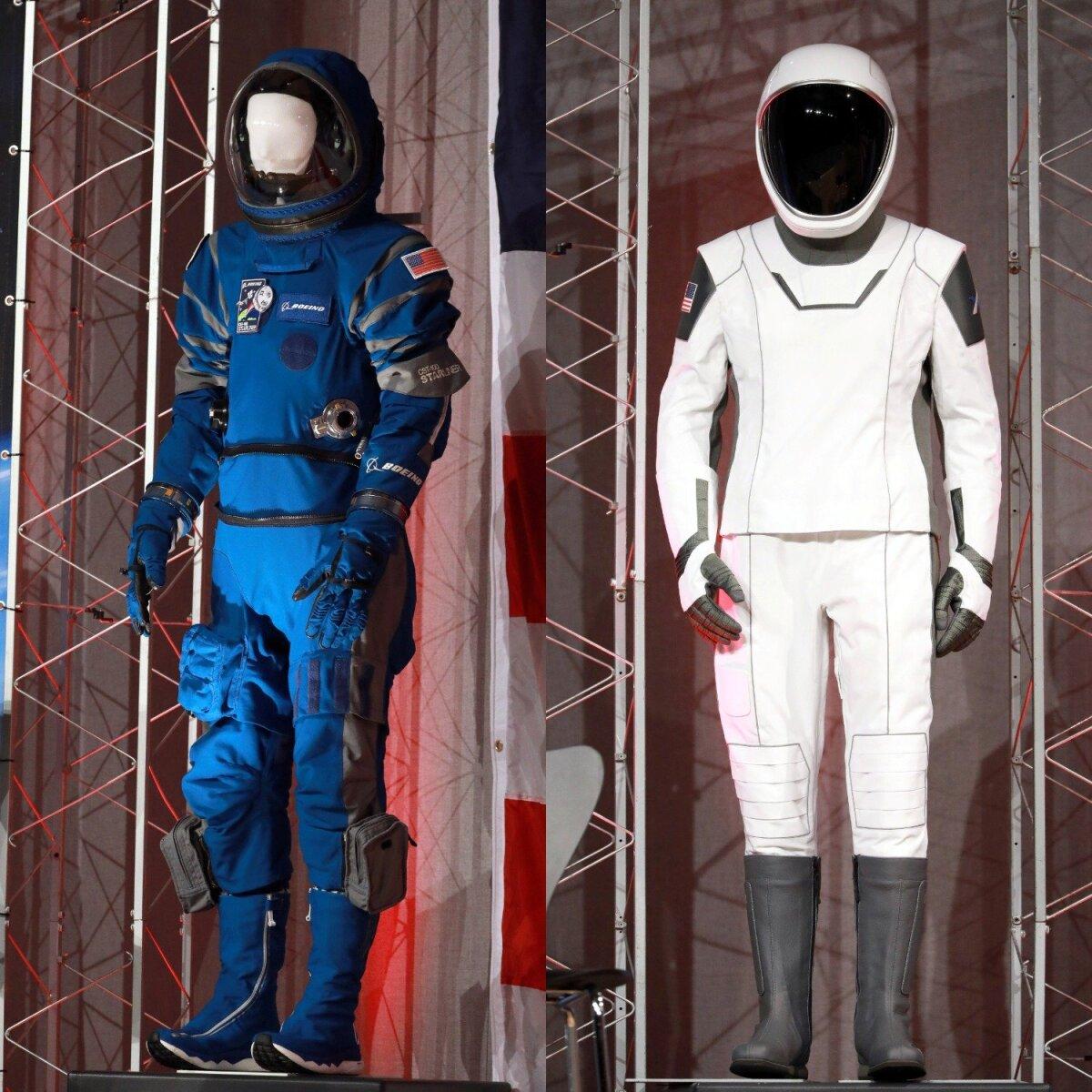 Костюмы Boeing (слева) и SpaceX (справа)
