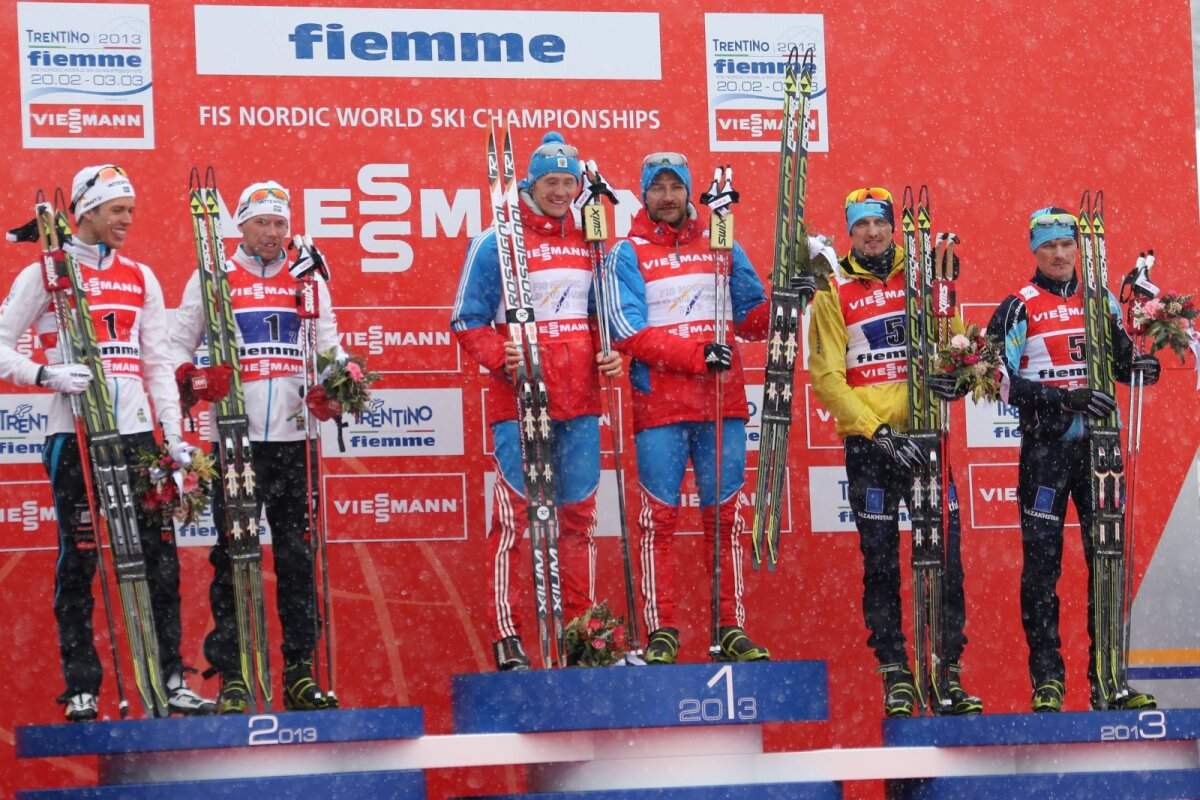 2013 Val di Fiemme MM-i sprinditeate medalikolmik. Poltoranin on paremalt teine.