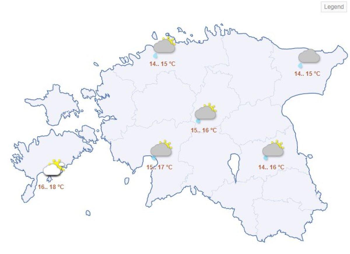 Laupäevane ilmaprognoos Riigi Ilmateenistuse kodulehelt