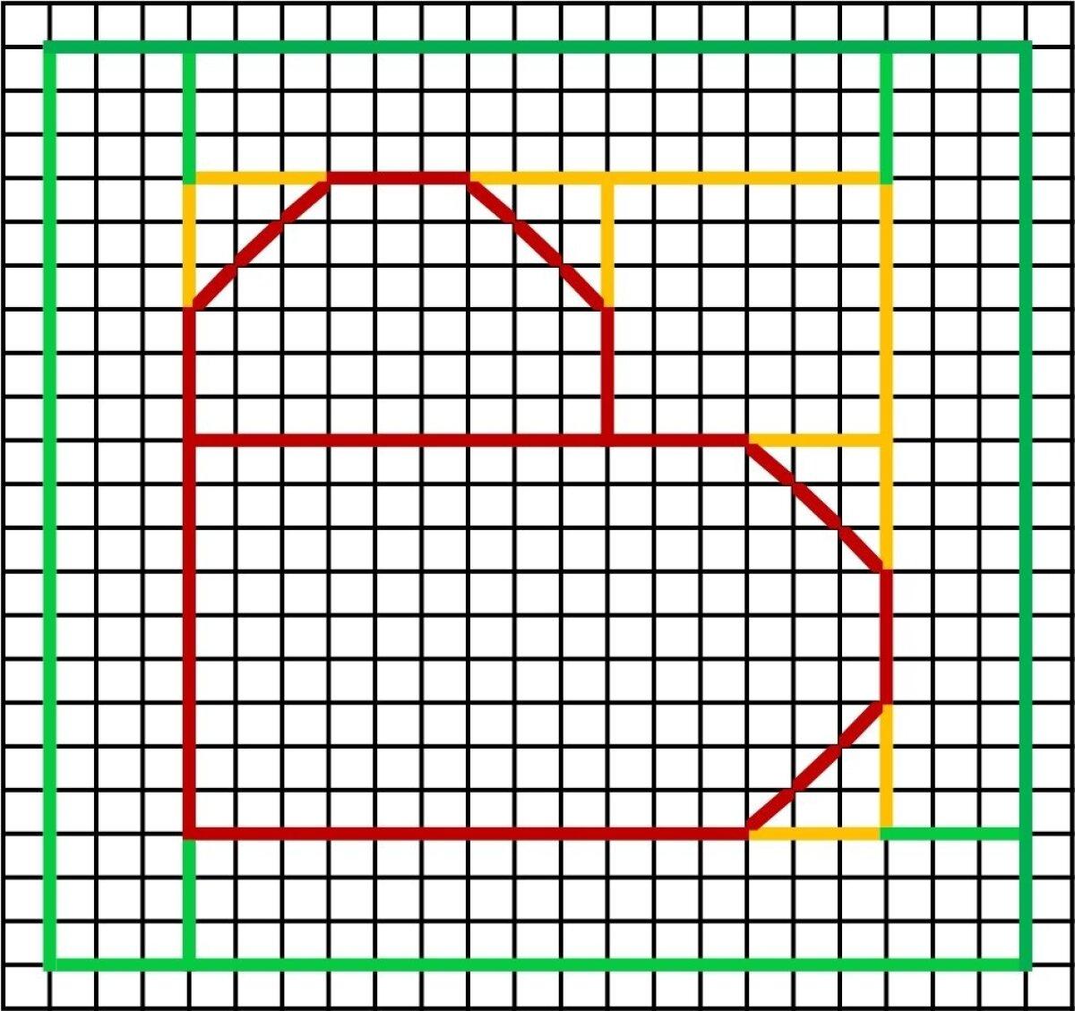 Esmalt märkige motiiv paberile. Ühe ruudu suurus on 1×1 cm.