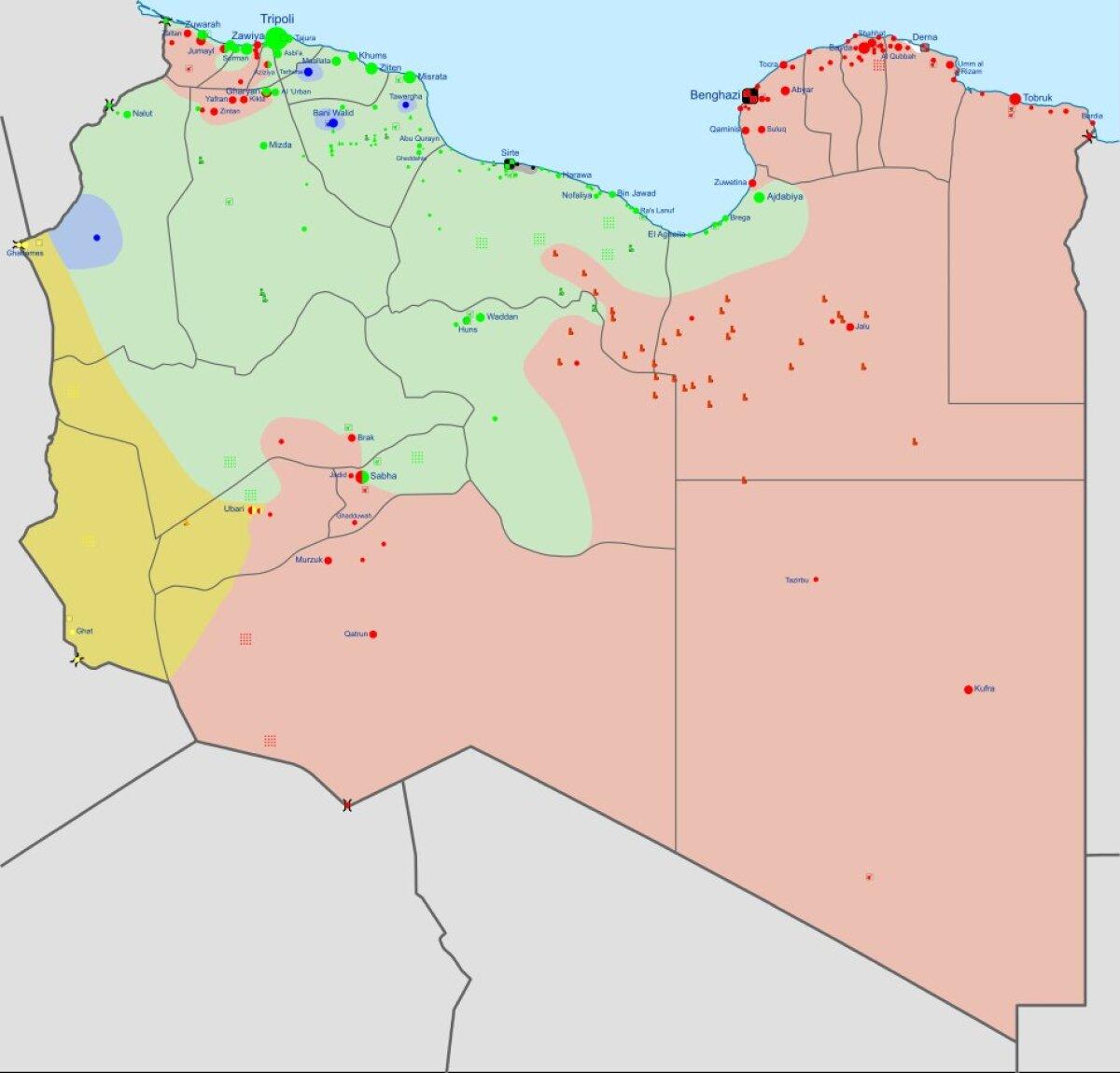 Liibüa sõjatanner, hall ala allub Islamiriigile.