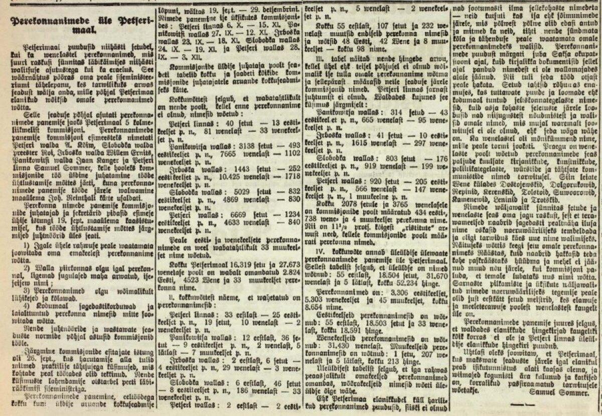 Postimees Petserimaa nimedepanekust 1922. a.