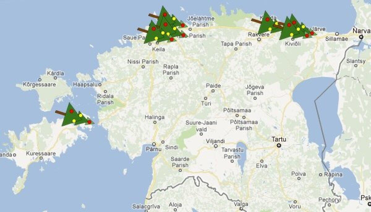 Külili jõulupuud