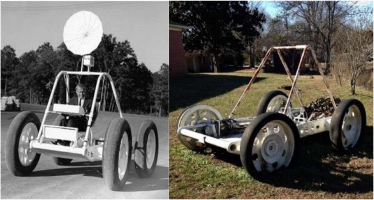 Vasakul: Wernher von Braun kuukulgurit testimas, paremal: eraisiku hoovist leitud sama kulgur