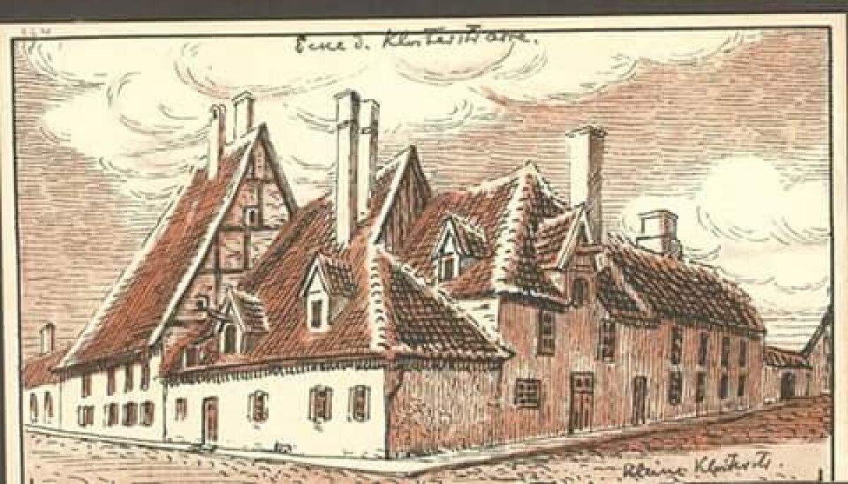 Õpetajate maja Suur- ja Väike-Kloostri nurgal 18. sajandil.