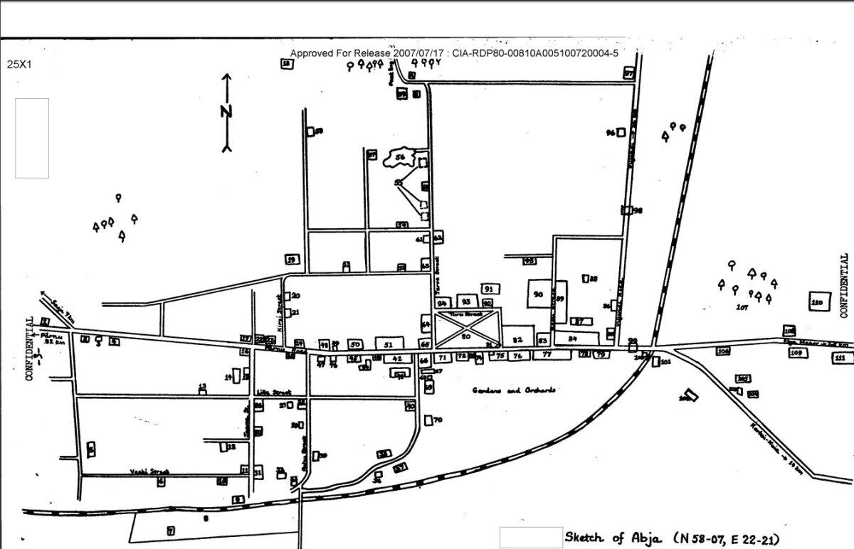 CIA omandusse jõudnud Abja kaart aastast 1954.