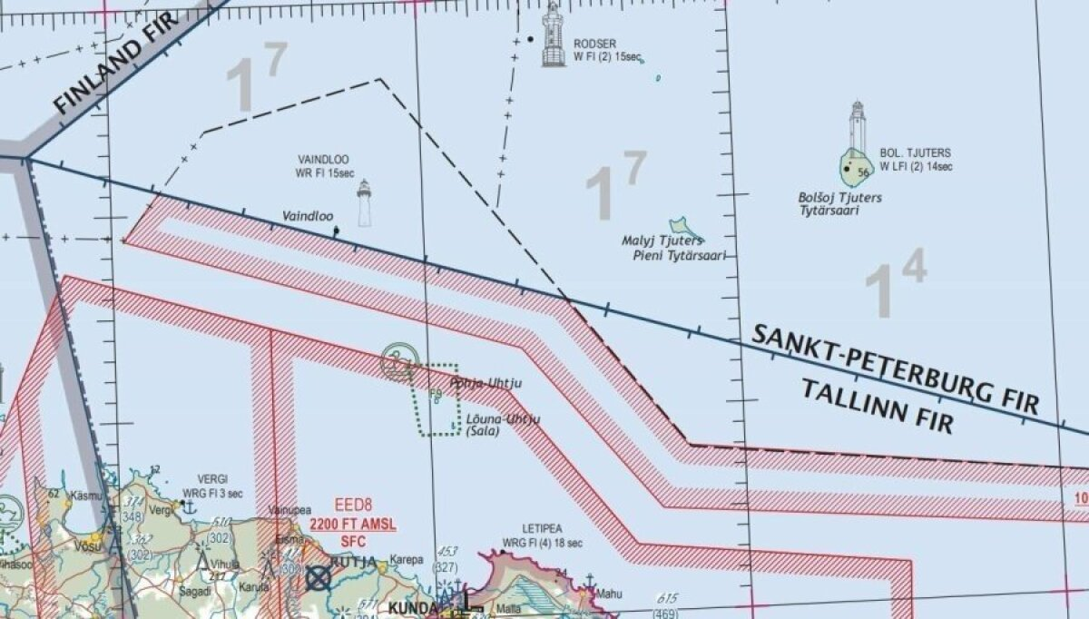 Eesti õhuruumi ja lennuinfopiirkonna piirid Vaindloo saare juures