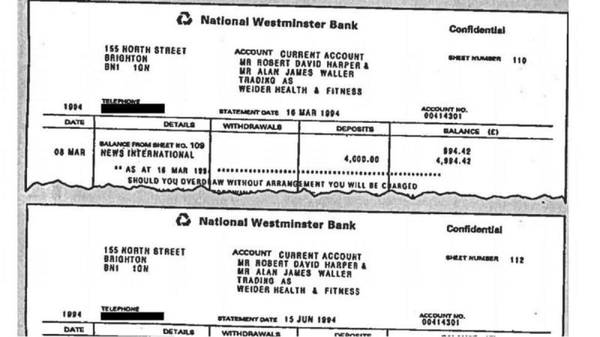Часть банковского документа, который использовался для того, чтобы войти в доверие к принцессе Диане